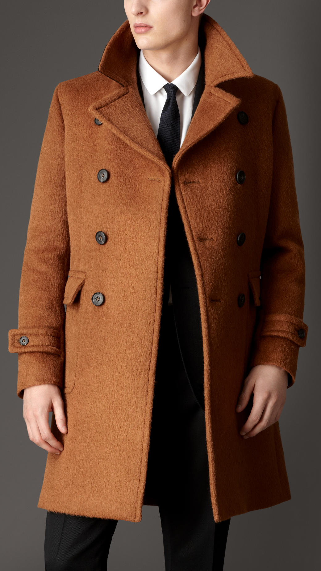 Burberry Doublebreasted Virgin Wool Alpaca Coat in Brown for Men