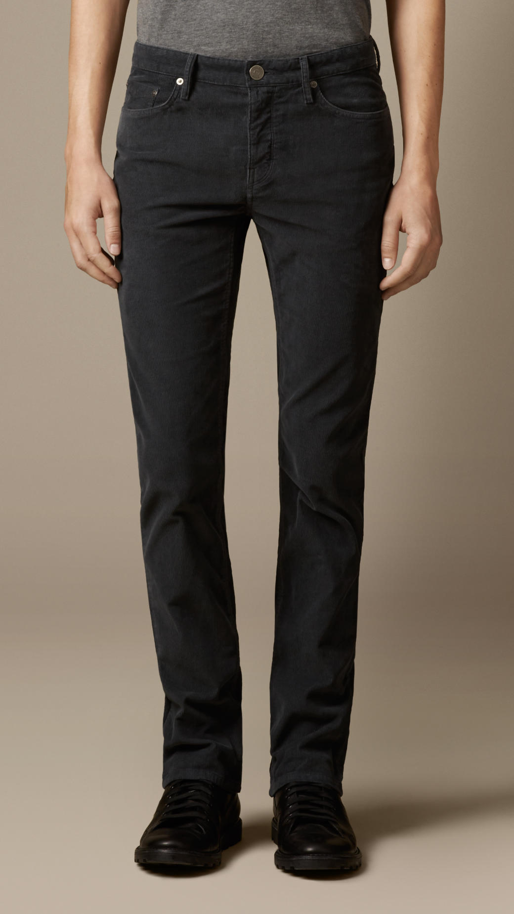 Burberry Slim Fit Corduroy Trousers in Black for Men | Lyst