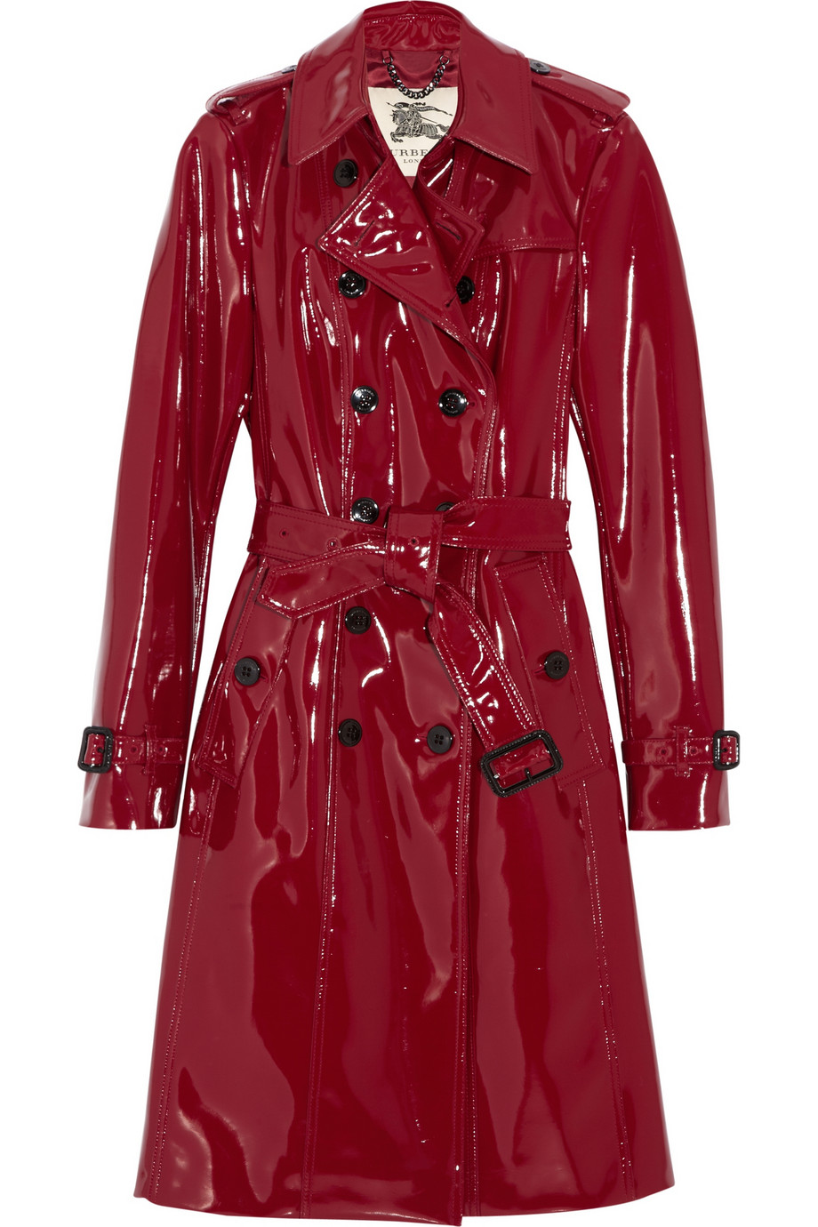 Burberry Glossed Vinyl Trench Coat In Red Lyst