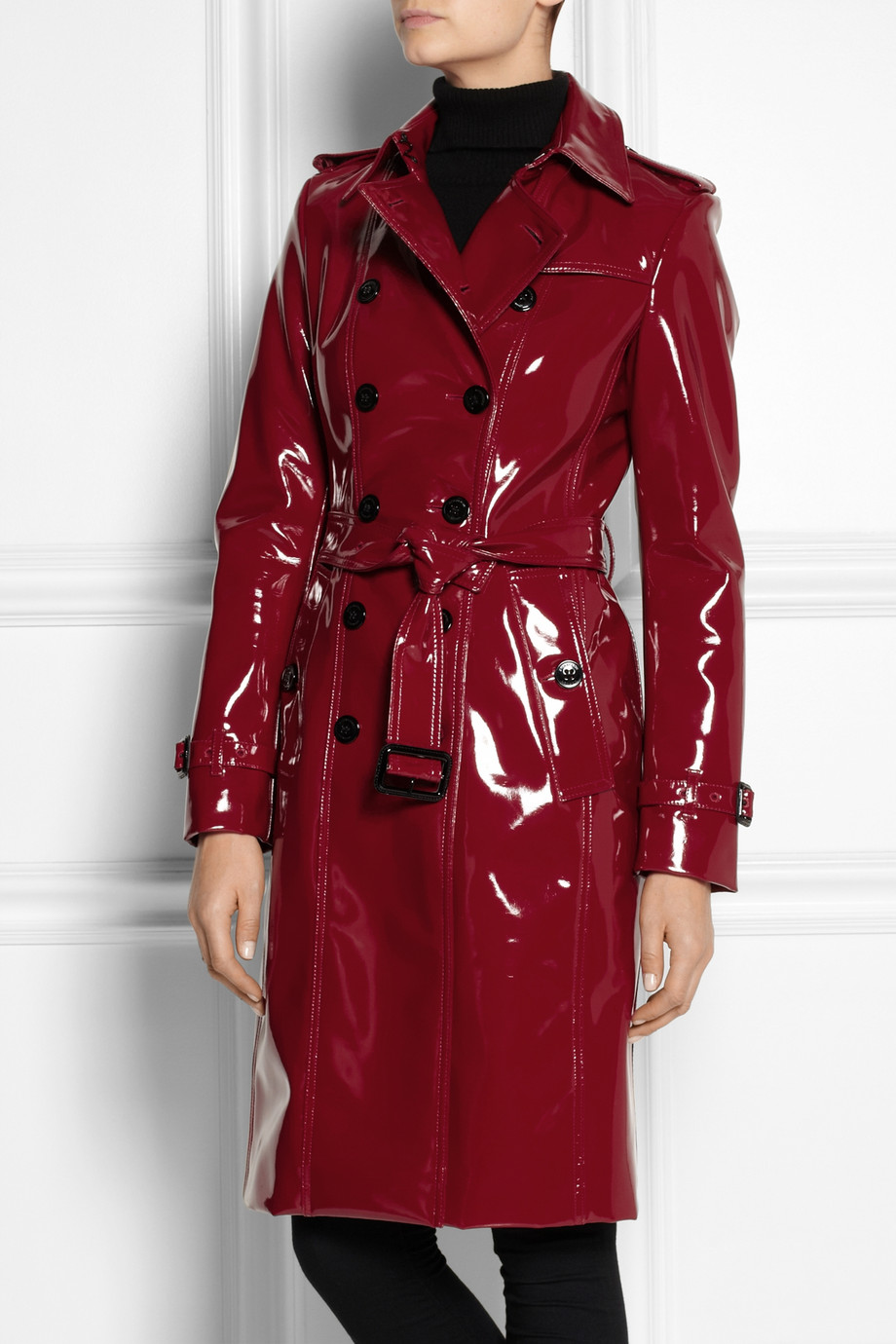 lyst burberry glossed vinyl trench coat in red. Black Bedroom Furniture Sets. Home Design Ideas