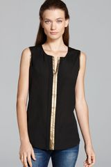 Calvin Klein Metallic Trim Top - Lyst