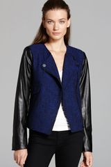 Calvin Klein Tweed Moto Jacket with Faux Leather Sleeves - Lyst