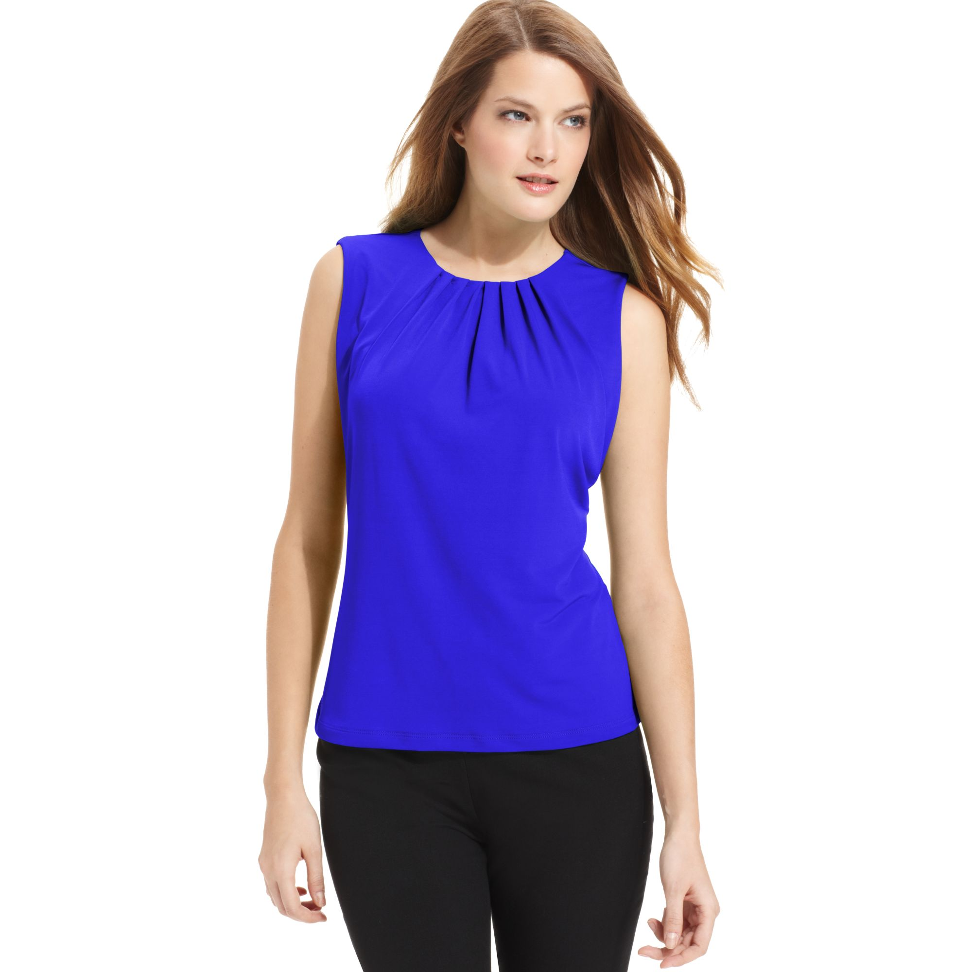Lyst Calvin Klein Sleeveless Pleated Neck Blouse In Blue