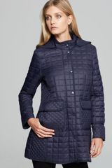 DKNY Contrast Quilted Hooded Jacket - Lyst