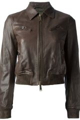DSquared2 Cropped Leather Jacket - Lyst
