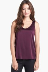 Eileen Fisher Stretch Silk Charmeuse V-neck Tank - Lyst