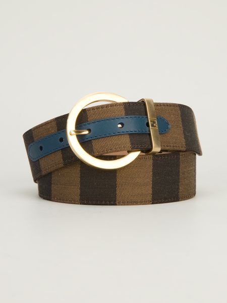 fendi pequin stripe belt in brown lyst