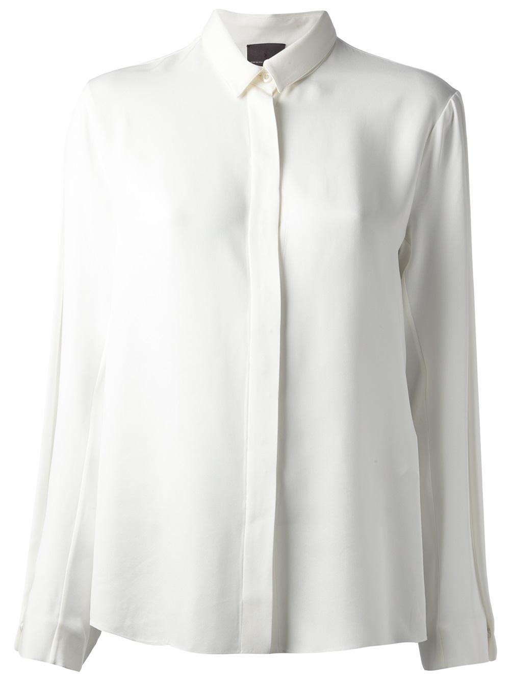 Fendi silk long sleeve shirt in white lyst for Silk long sleeve shirt