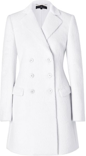 Ferragamo Wool Coat in White - Lyst