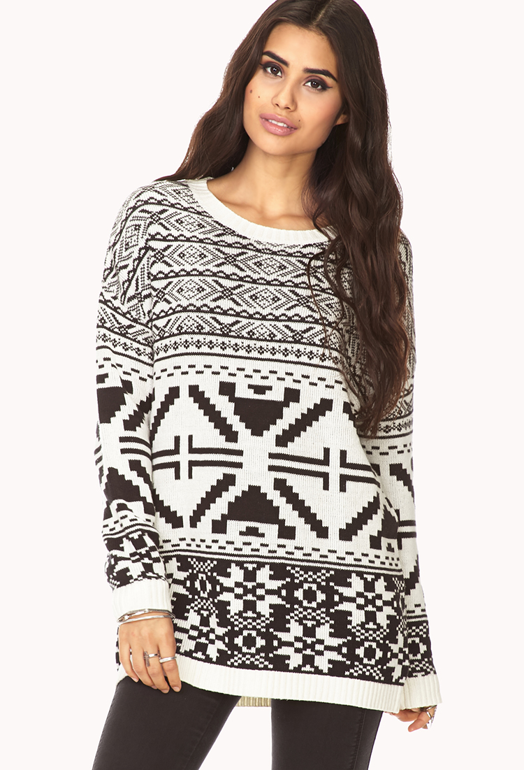 Forever 21 Oversized Fair Isle Sweater in White | Lyst