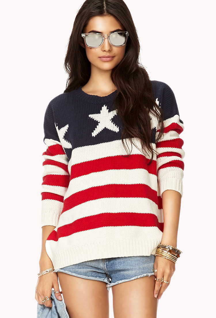 Forever 21 American Flag Sweater In Blue