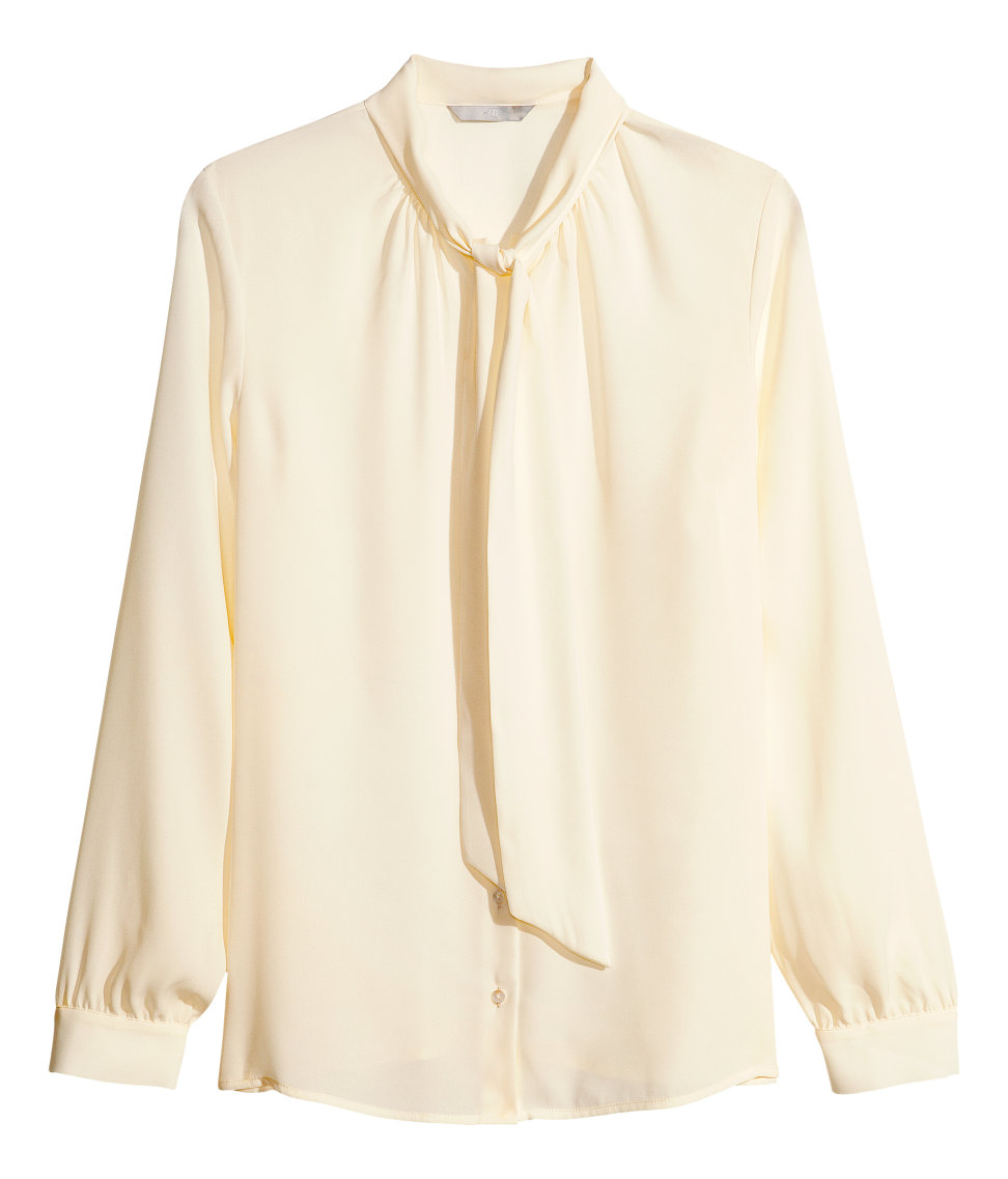 Lyst H M Pussybow Blouse In Natural