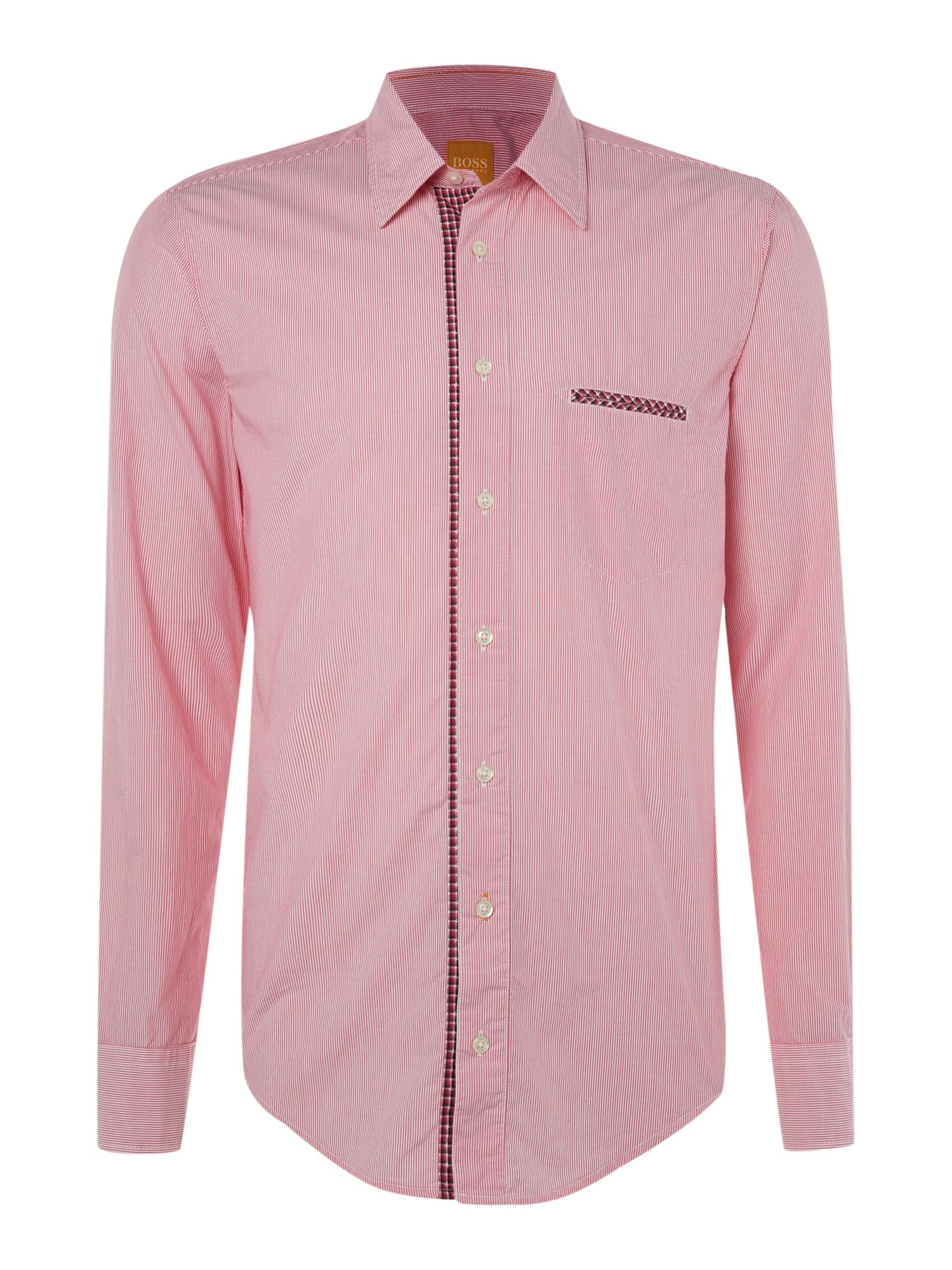 hugo boss long sleeve fine stripe shirt in pink for men lyst. Black Bedroom Furniture Sets. Home Design Ideas