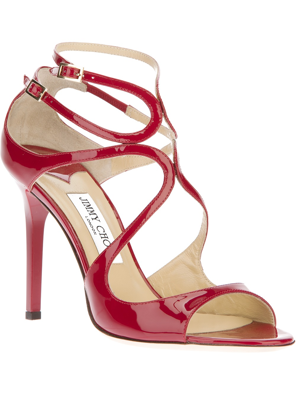 Jimmy Choo Lang Patent Sandal In Red Lyst