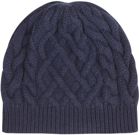 Johnstons Of Elgin Aran Cable Knit Cashmere Beanie Hat in ...