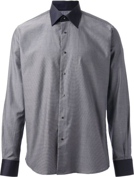 Lagerfeld Contrast Collar And Cuff Shirt In Gray For Men