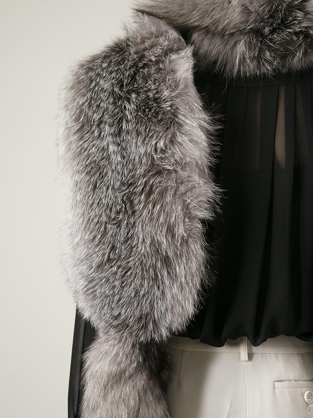 Grey Fox Fur Stole Marni jBv0cD21e