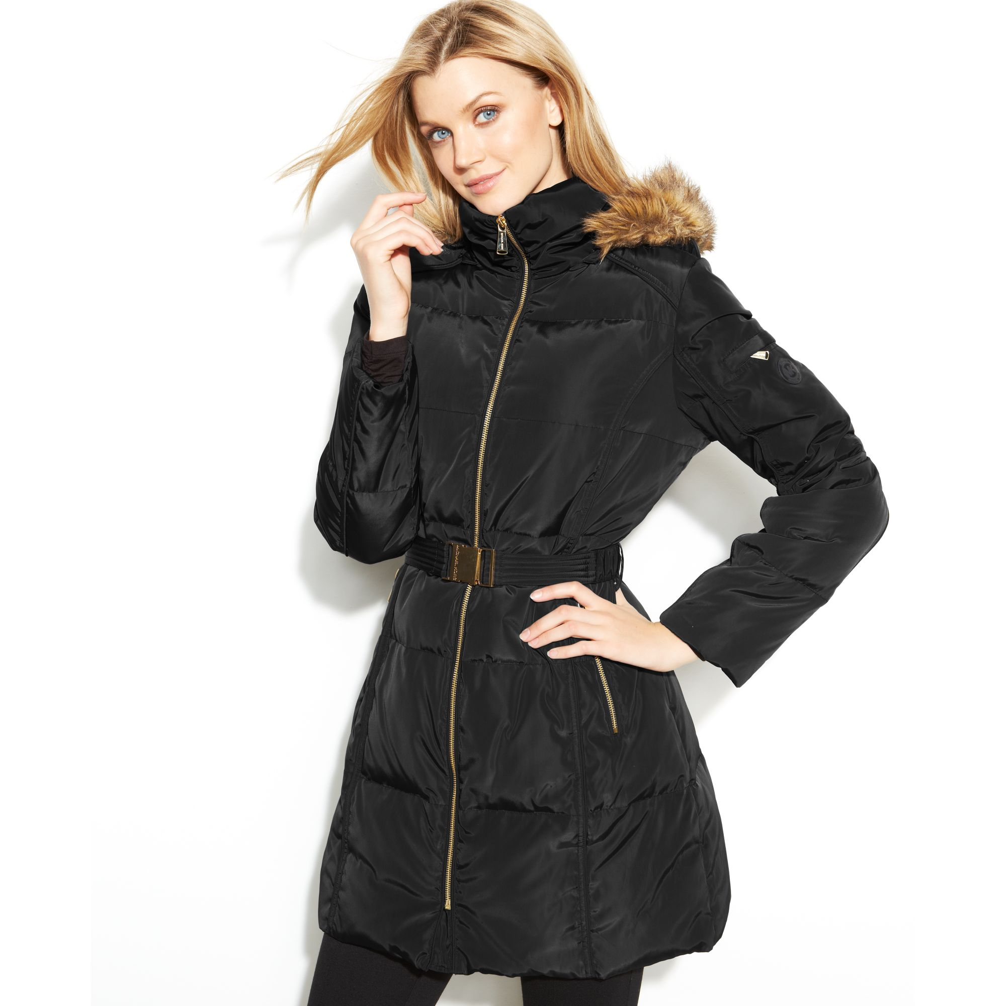 Michael kors Hooded Faux-fur-trim Belted Puffer in Black | Lyst