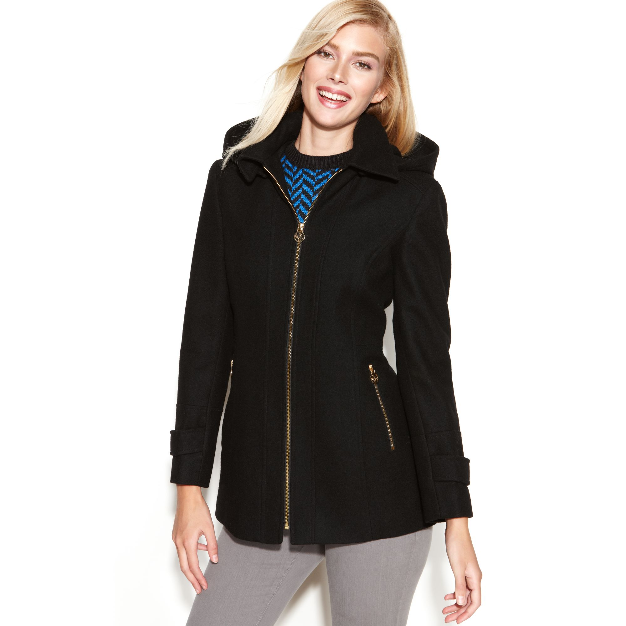 2bd7fb1fda661 Lyst - Michael Kors Hooded Zip-front Wool-blend in Black