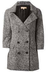 Michael Kors Tweed Double Breasted Coat - Lyst
