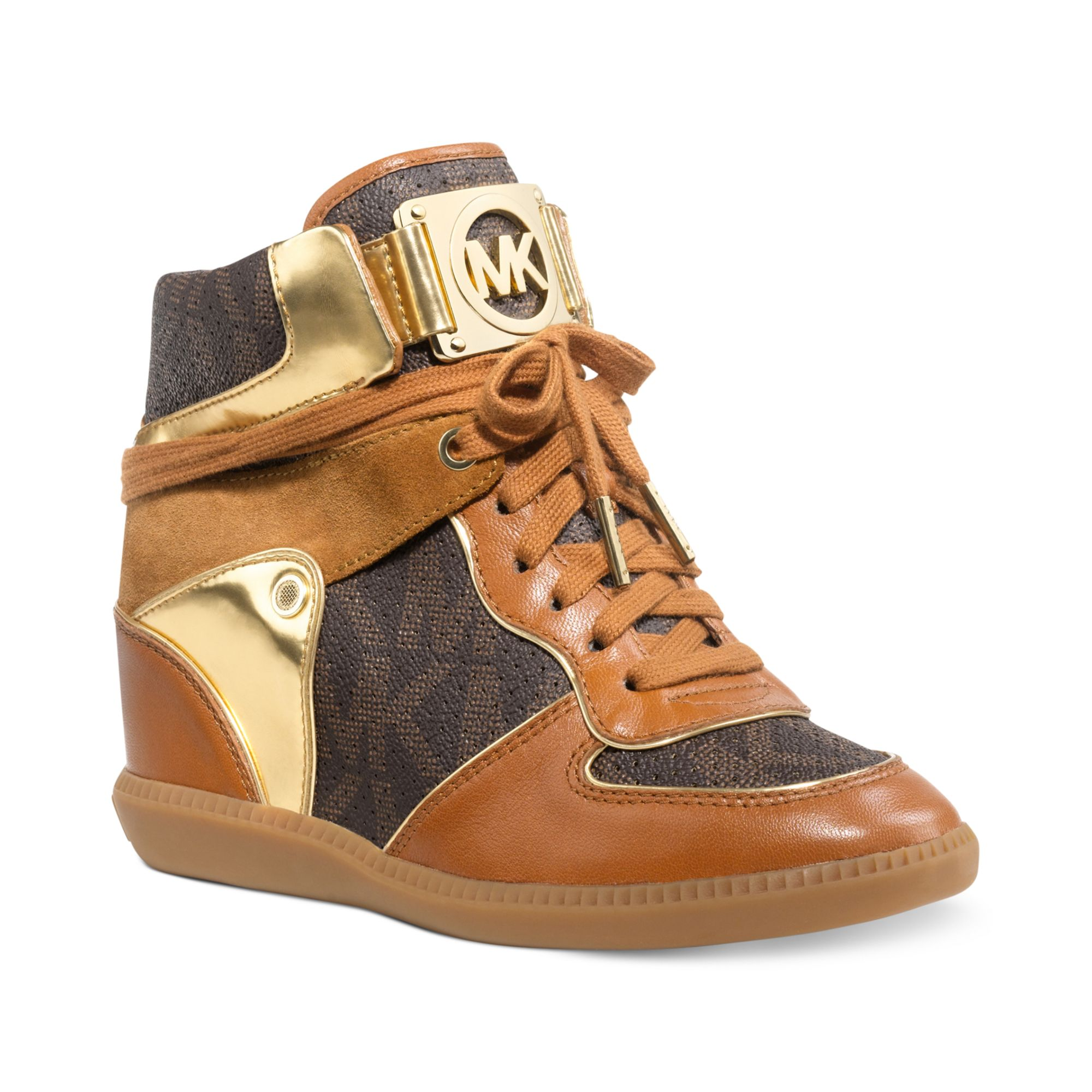 michael kors nikko high top wedge sneakers in brown lyst. Black Bedroom Furniture Sets. Home Design Ideas