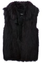 Milly Fur Vest with Bow - Lyst