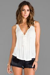 One Teaspoon Rifle Lace Up Tank in White - Lyst