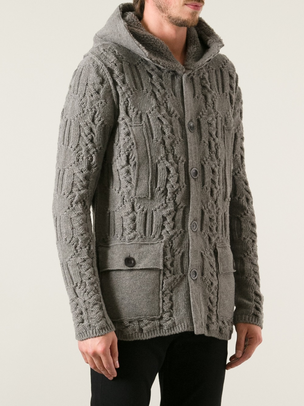 Paolo pecora Thick Knit Cardigan in Gray for Men | Lyst