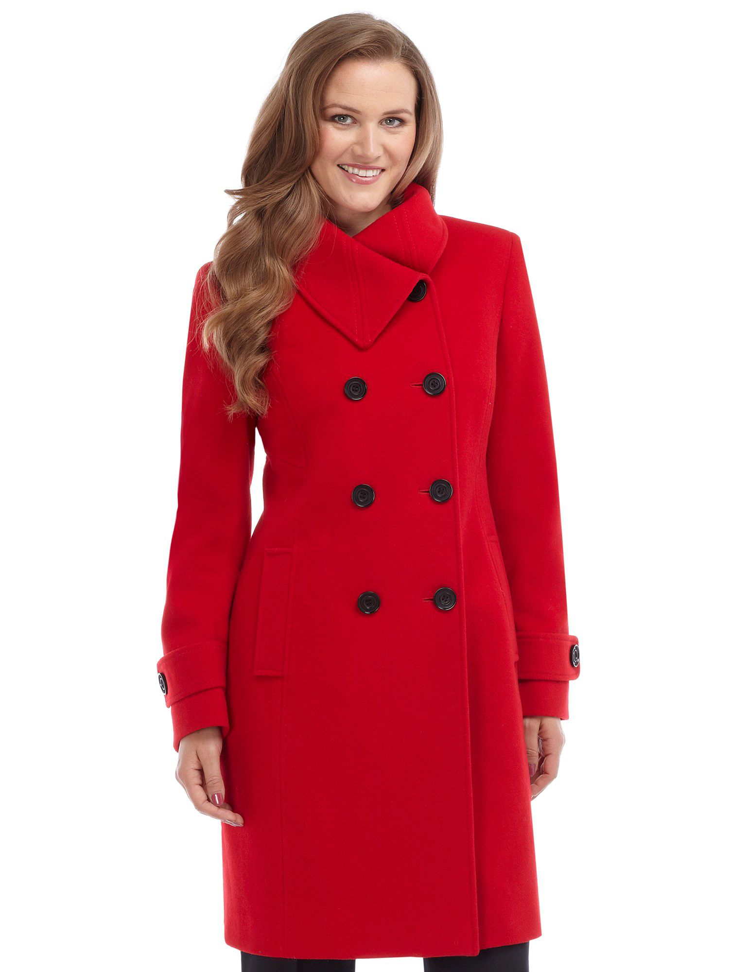 Precis petite Scarlet Wool Coat in Red | Lyst