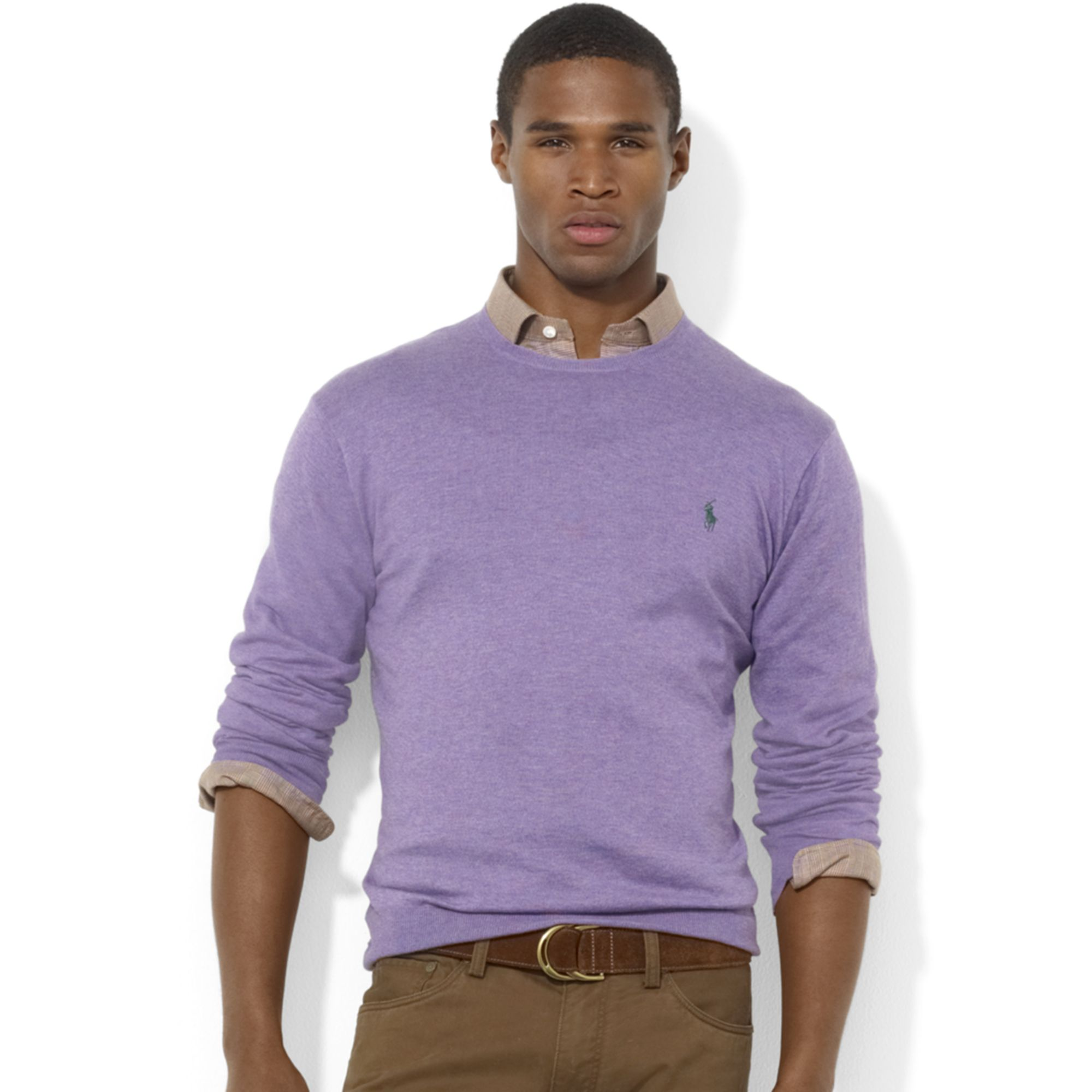 Ralph lauren Crew Neck Pima Cotton Sweater in Purple for Men | Lyst