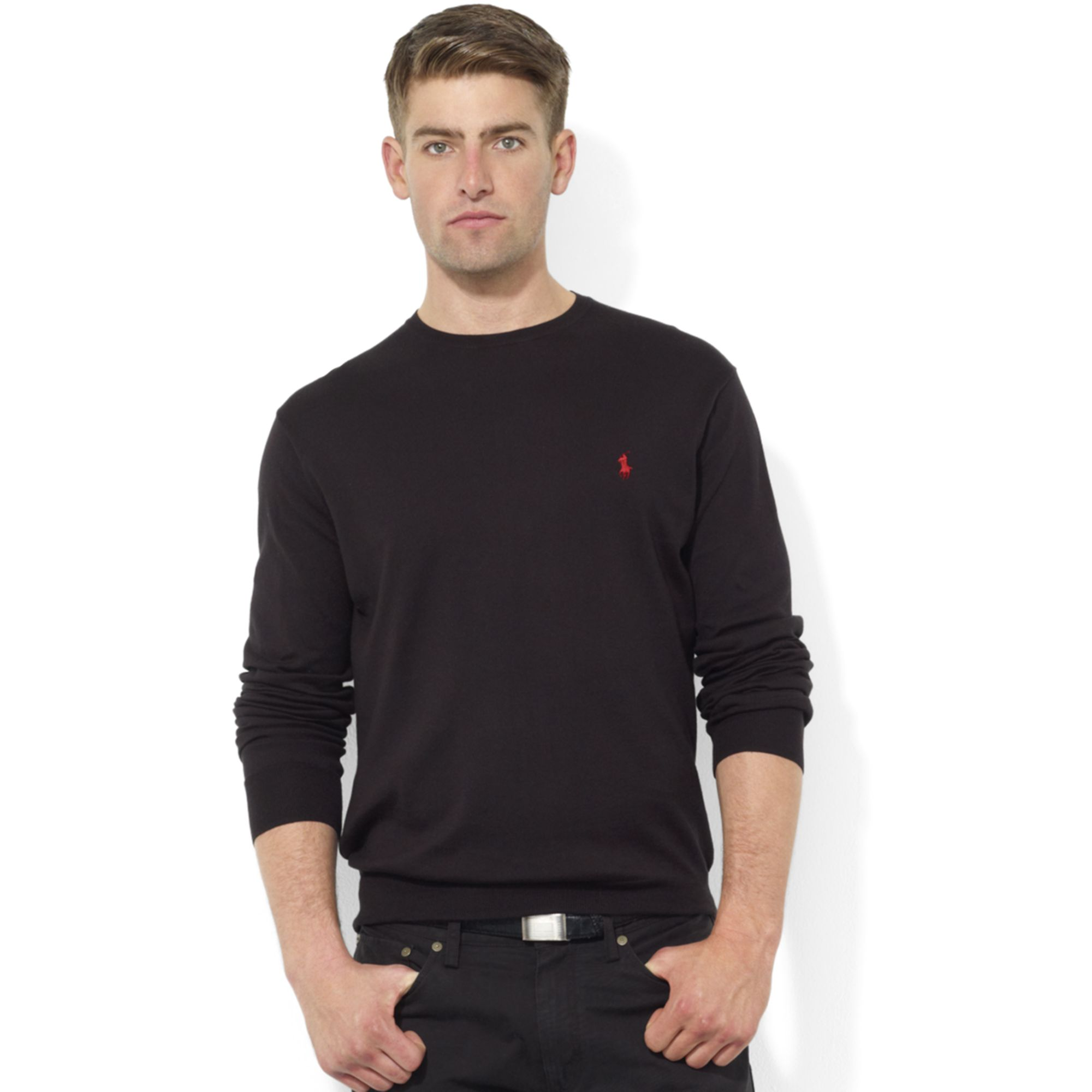 Ralph lauren Crew Neck Pima Cotton Sweater in Black for Men | Lyst