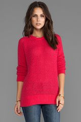 Shae Long Sleeve Open Stitch Fuzzy Sweater in Fuchsia - Lyst