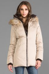 Soia & Kyo Clea Down Coat with Removable Fur Hood in Beige - Lyst