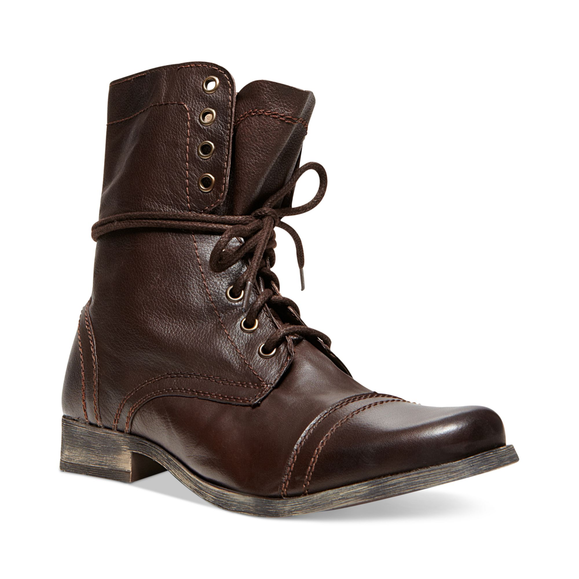 steve madden troopah2 cap toe boots in brown for