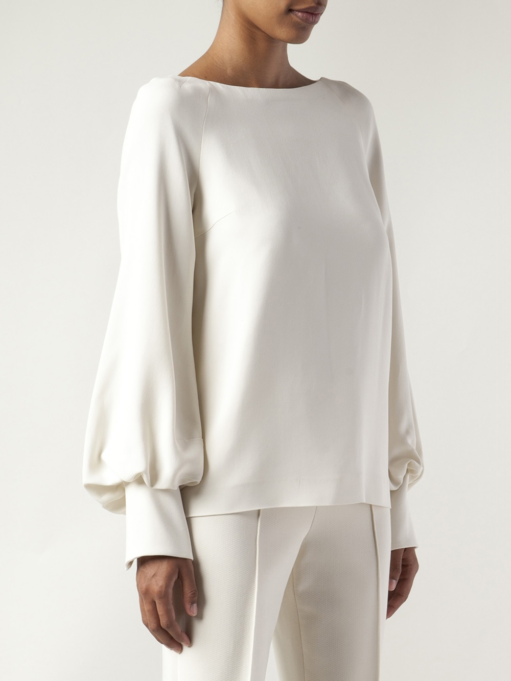 Lyst The Row Bell Sleeve Blouse In Natural