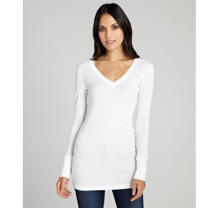 Lyst three dots white thermal cotton long sleeve v neck for White thermal t shirt