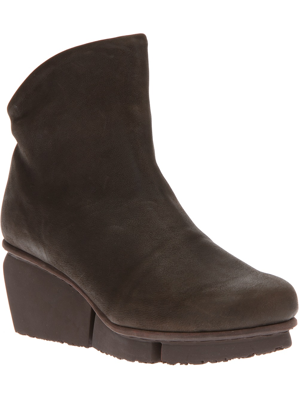 trippen wedge ankle boot in brown lyst