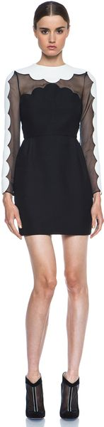 Valentino Scallop Edge Tulip Dress - Lyst