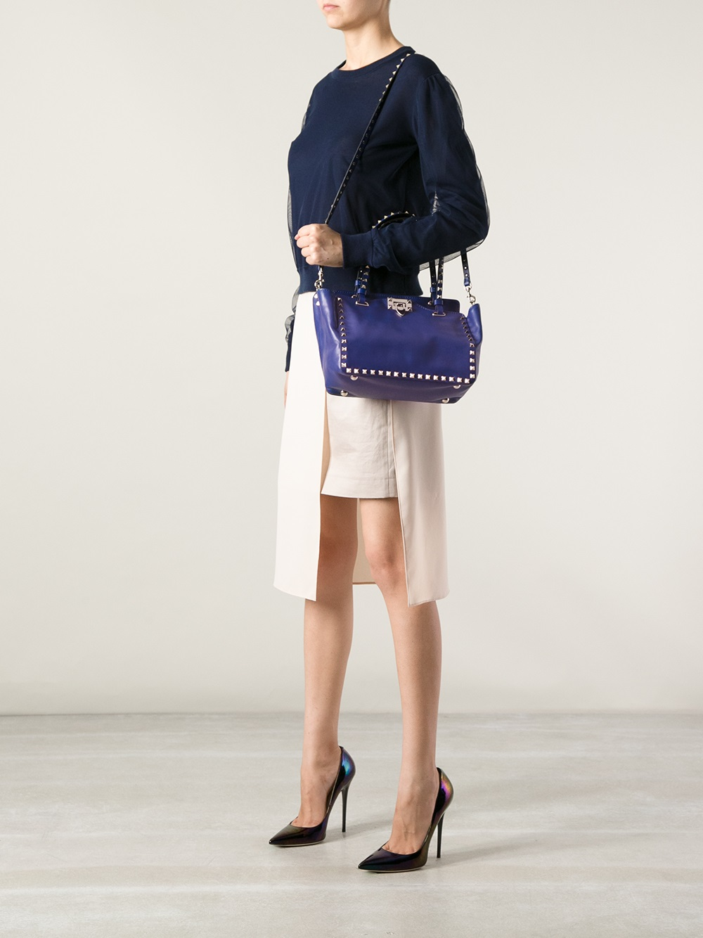 Valentino Rockstud Tote Bag In Blue Lyst