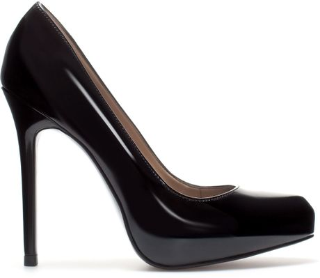 zara synthetic patent leather platform court shoe in black