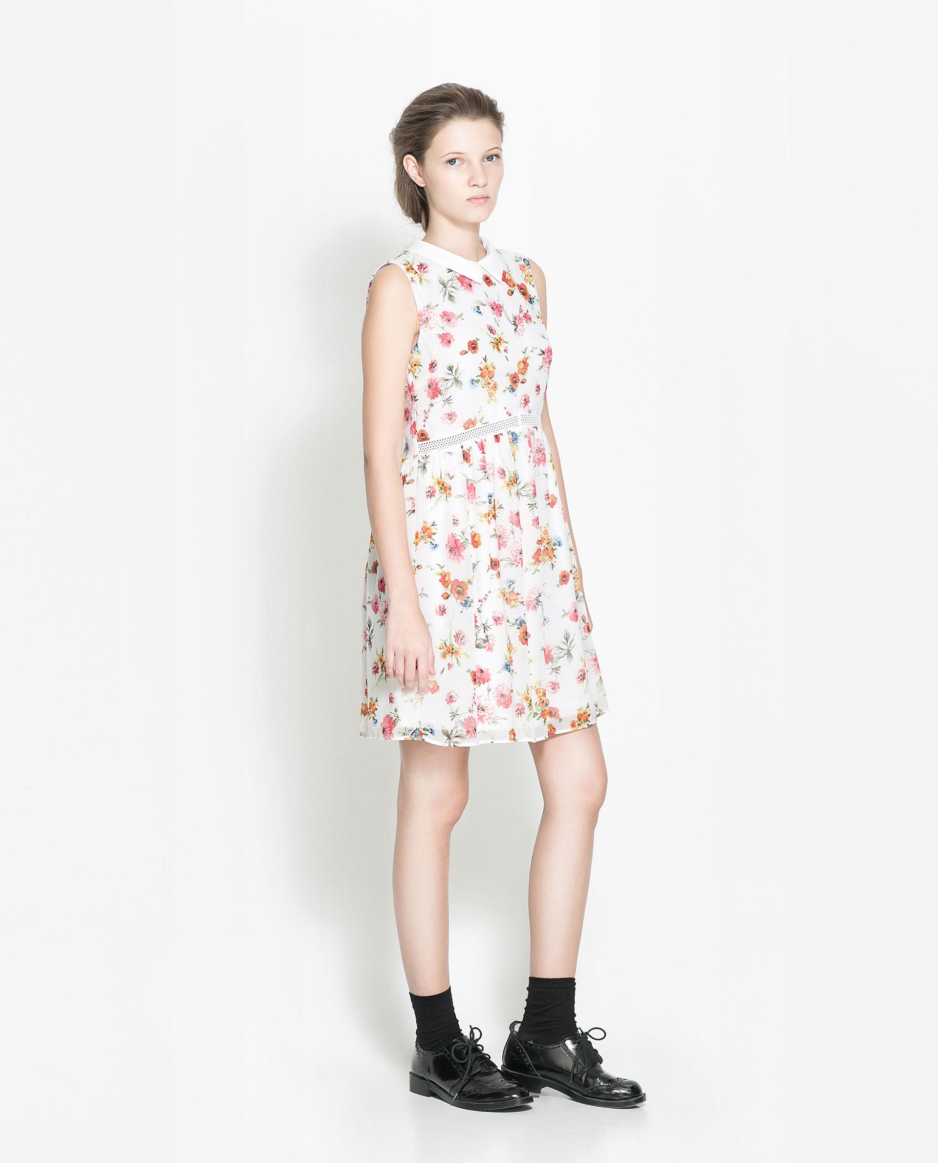 6c0eb3c3c6bb White Floral Print Dress Zara