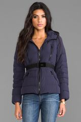 Add Down Jacket with Hood in Navy - Lyst