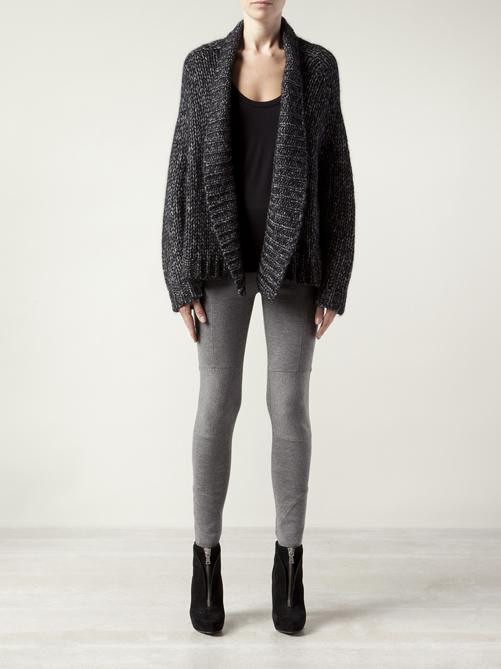 Alexander wang Chunky Knit Cardigan in Black | Lyst