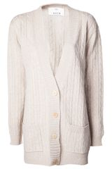 Allude Cable Knit Cardigan - Lyst