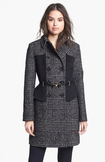 Betsey Johnson Plaid Solid Wool Blend Peplum Coat - Lyst