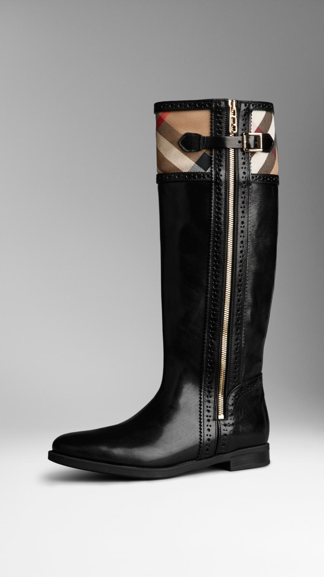 Lyst Burberry Brogue Detail House Check Riding Boots In