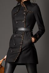 Burberry Midlength Animal Print Leather Trim Trench Coat - Lyst