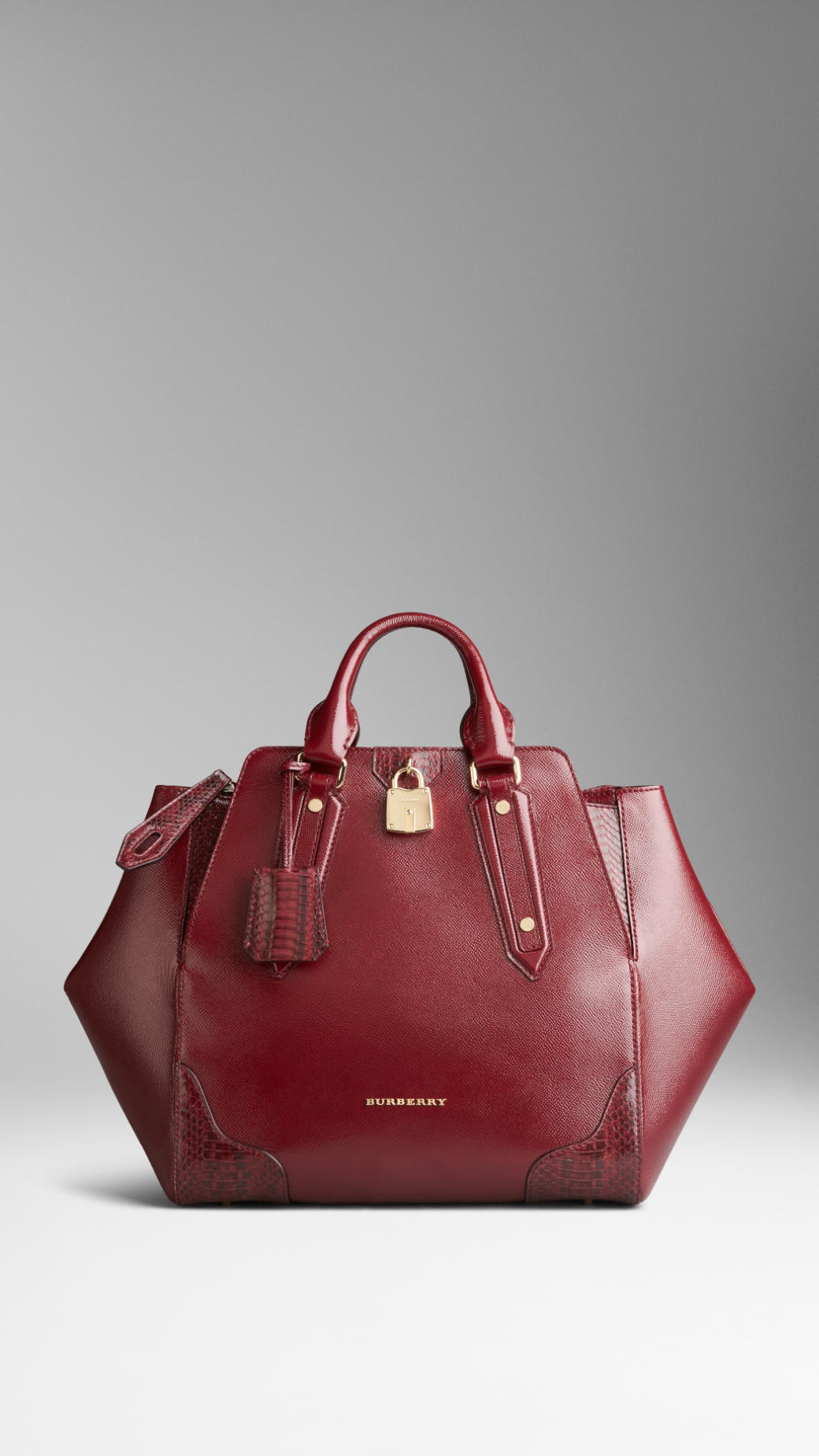 Lyst - Burberry Snakeskin Detail London Leather Tote Bag in Red cac1c230abfa2