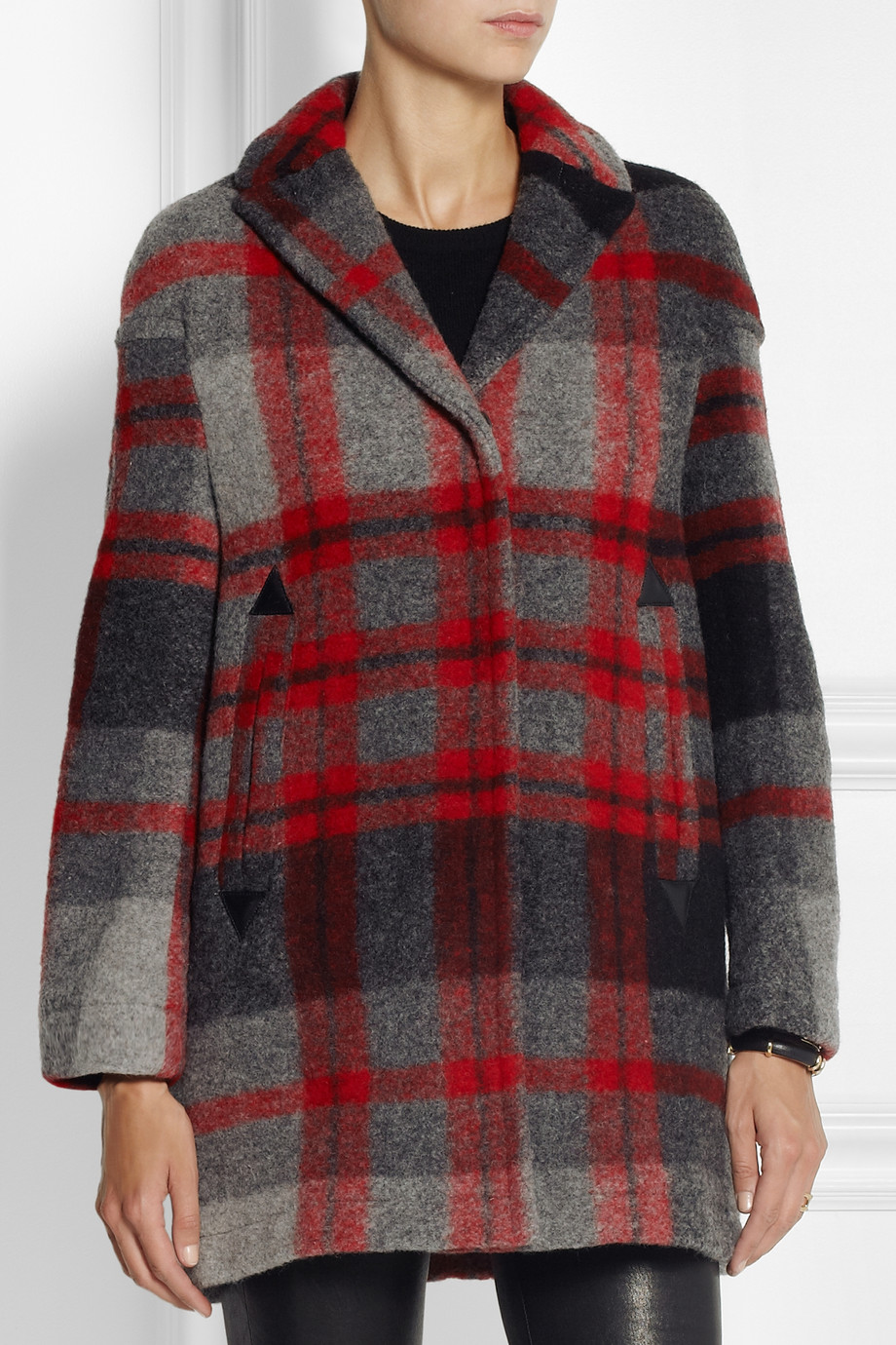 Lyst burberry brit plaid woolblend coat in gray for Burberry brit green plaid shirt