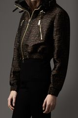 Burberry Animal Jacquard Cropped Bomber Jacket with Fur Collar - Lyst